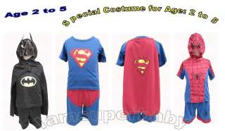 Age 2 5 Superman Batman Spiderman Super Hero Character Party Costume