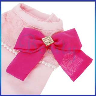 Pink Sleeveless Bowknot Decor Pet Dog Puppy T Shirt Clothes Apparel