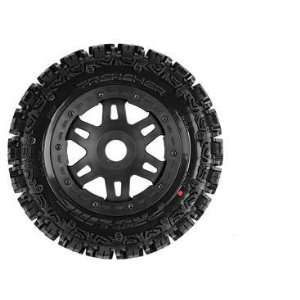 Pro Line R Trencher Off Road Tire Mounted on Black Splt Six Wheels