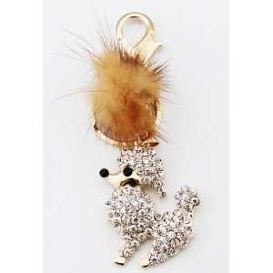 Crystal Cute Dog Puppy Fashion Keychain, Key Ring, Bag