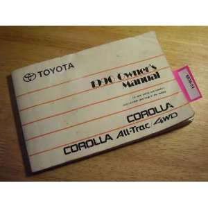 1990 Toyota Corolla All Trac Owners Manual Toyota Books
