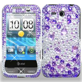 New AT&T HTC F8181 Freestyle Phone Purple Silver Crystal Bling Hard