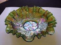 Antique Fenton Thistle bowl Green Carnival Glass