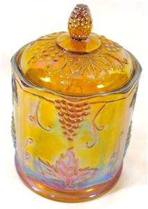 INDIANA GLASS RARE VINTAGE HARVEST GRAPE GOLD CARNIVAL GLASS CANISTER