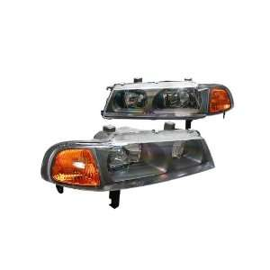 Euro Headlights Black 1 piece W / Amber Corner 92 96 Honda