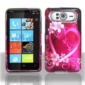 HTC HD7 Purple Love Hard Case Snap on Cover Protector