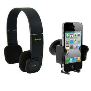 Headset + Black Universal Car Vent Mount Holder for Apple iPhone 4S