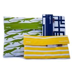 Lunchskins Sandwich Bag (in Green Lizard) and Two Snack Bags