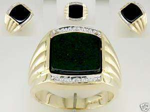 Mens Onyx & Diamond Ring 10kt Yellow Gold