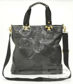 Tory Burch Black Patent Leather & Gold Hardware Tote Bag