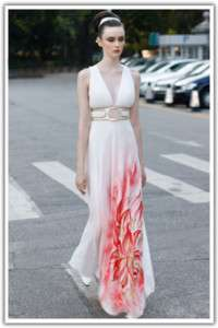 Bridemaid Ball Party Flora Printed Chiffon Cocktail Long Evening Dress