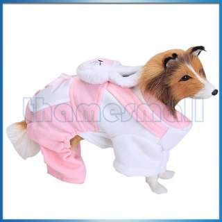 Pet Dog Warm Autumn Dress Rabbit Overall Jumpsuit Clothing Coat Jacket