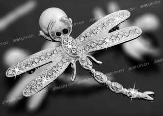 Dragonfly Pearl Bead Rhinestone Metal Brooch Pin 2.28 CHIC