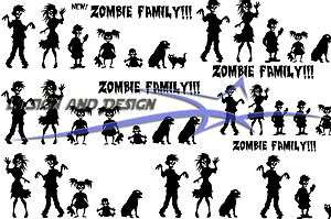 Zombie Family Window Sticker Vehicle Decal