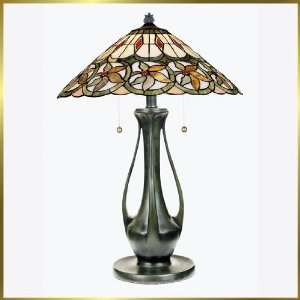 Tiffany Table Lamp, QZTF129TVB, 2 lights, Antique Bronze, 18 wide X
