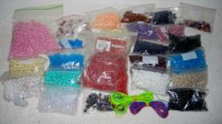 Huge Lot Pony Beads Reds Blues Pinks Peach Whites Black Tax Letters