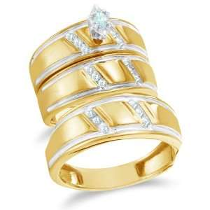 Size 13   10K Yellow and White Two Tone Gold Diamond Mens