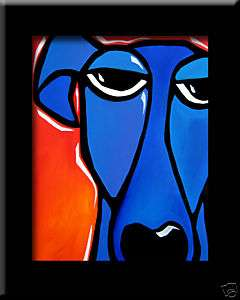 FIDOSTUDIO Original ART Abstract MODERN BLUE DOG print