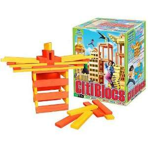 54 Piece Orange and Yellow Wooden Building Block Set Toys & Games