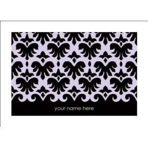 Personalized Stationery Note Cards with Damask Pattern