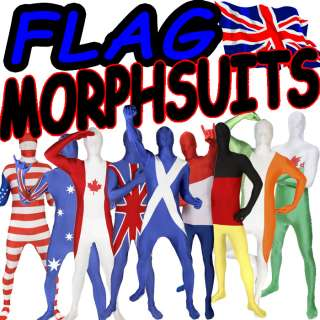 ORIGINAL COUNTRY FLAG MORPHSUIT MORPHSUITS MORPH SUIT FANCY DRESS