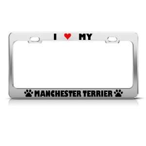 Manchester Terrier Paw Love Heart Dog license plate frame Stainless