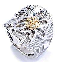 Sonia B. Sterling Silver, 14K Yellow Gold & Diamond Accent Flower Ring