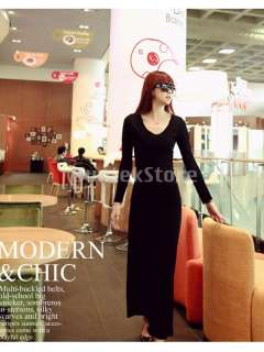 Sexy Women Elegant Modal Long Style Slim Fit V Neck Long Sleeve Dress