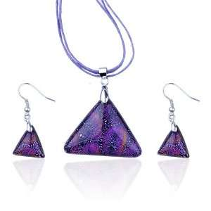 Triangular Fused Dichroic Pendant And Earring Murano Glass Jewelry Set