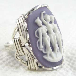 Three Dancing Graces Cameo Ring Sterling Silver Custom Jewelry