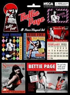 BETTIE PAGE 8 PC. MAGNET SET RETRO PINUP MODEL BETTY