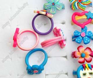 6styles wholesale jewelry Mixed lots childrens polymer clay rings NEW
