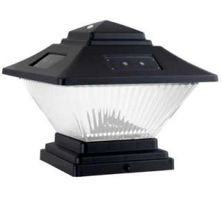 Hampton Bay Post Cap Outdoor Black Solar LED Lights (4 Pack) QPP4 N3
