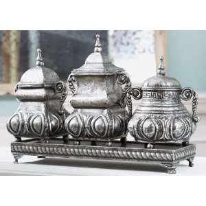 of 3 Silver Antique Style Decorative Boxes with Tray