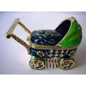 Baby Stroller Jewelry Trinket Box Bejeweled Green