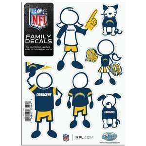 San Diego Chargers 5in x 7in Family Car Decal Sheet