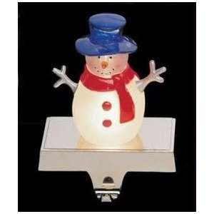Lighted Snowman Christmas Stocking Holder with Silver Base