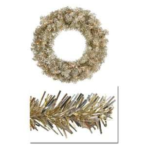 Tinsel Artificial Christmas Wreath  Clear Lights