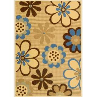Natural and Brown Indoor/Outdoor Area Rug, 5 Feet 3 Inch by 7 Feet 7