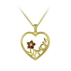 Diamond Accent and Garnet MOM with a Flower Heart Pendant Necklace, 18