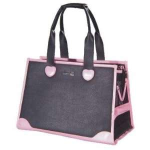 Designer Dog Carrier   Large Faux Leather with Pink Trim Pet Carrier
