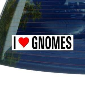I Love Heart GNOMES Window Bumper Sticker Automotive
