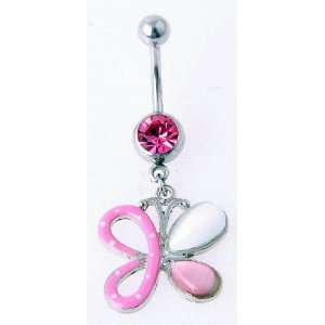 14g Surgical Steel Butterfly Belly Ring with Pink Gem Jewelry