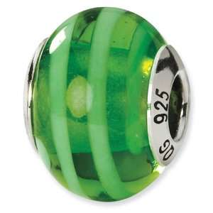 925 Silver Green Stripe Italian Murano Glass Charm Bead Jewelry