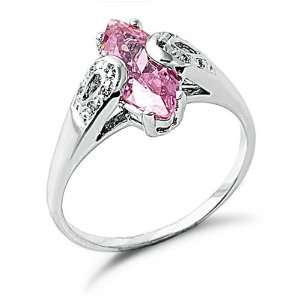 Pink Cubic Zirconia Sterling Silver Ring, 6 Jewelry