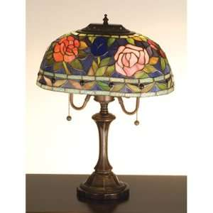 Oblong Table Lamp Delicate Domed Stained Glass Shade