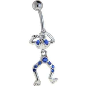 Frog   Blue Gem Dangle Belly Button Ring Jewelry