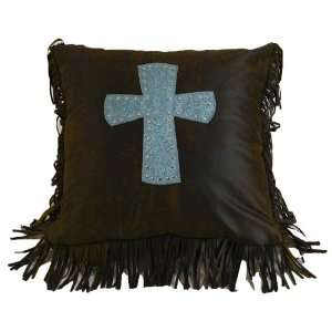 Cheyenne Turquoise Tooled Leather Pillow with Cross Pet