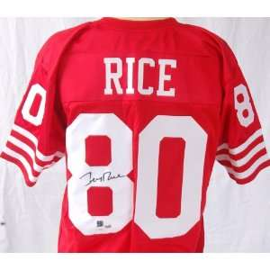 Rice Autographed Throwback 49ers Jersey   Autographed NFL Jerseys