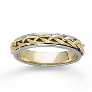 14k Two Tone Gold Elegant Tangle Hand Carved Wedding Band Jewelry